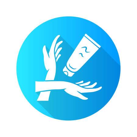 Handcreme flaches Design lange Schatten Glyphe Symbol. Hautpflegeprodukt-Vektor-Silhouette-Illustration. Damenhygiene, Körperpflege. Bräunungs- und Sonnenbrandschutz. Frauenarme und feuchtigkeitsspendende Lotionstube