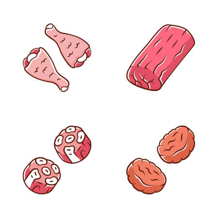 Butchers meat color icons set. Chicken drumsticks, pork roast, burger patties, oxtails. Meat production and sale. Butchery business. Protein sources. Isolated vector illustrations 일러스트