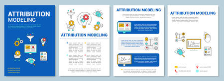 Attribution modeling brochure template layout. Flyer, booklet, leaflet print design with linear illustrations. Vector page layouts for magazines, annual reports, advertising posters  イラスト・ベクター素材
