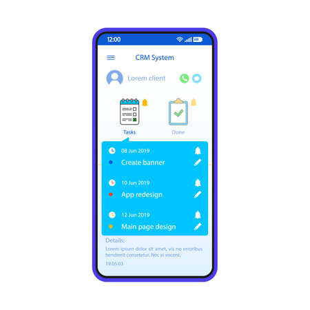 CRM system smartphone interface vector template. Mobile customer manager app page blue design layout. Client management software screen. Flat UI for application. Business organizer. Phone display