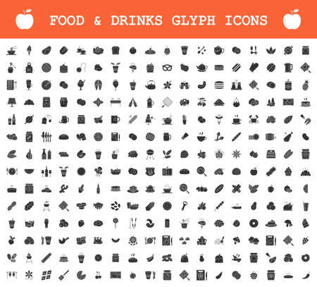 Food and drinks glyph icons big set. Restaurant menu and BBQ. Meat, fish, vegetables, fruits, cookies, desserts. Alcohol drinks and cocktails. Silhouette symbols. Vector isolated illustration Archivio Fotografico - 128633743