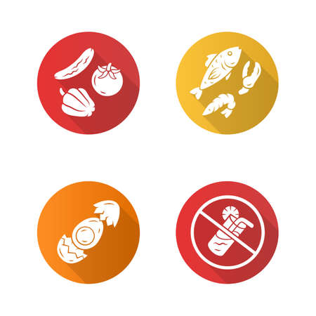 Healthy balanced eating flat design long shadow glyph icons set. High vitamin and omega 3 food. Shrimp and crab claw seafood. No soft drinks sign. Egg, vegetables, fish vector silhouette illustration
