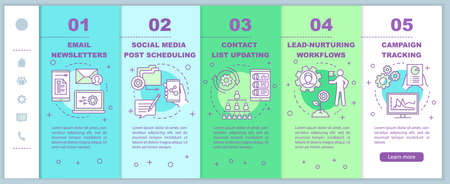 Marketing automation onboarding mobile web pages vector template. Responsive smartphone website interface idea with linear illustrations. Webpage walkthrough step screens. Color concept