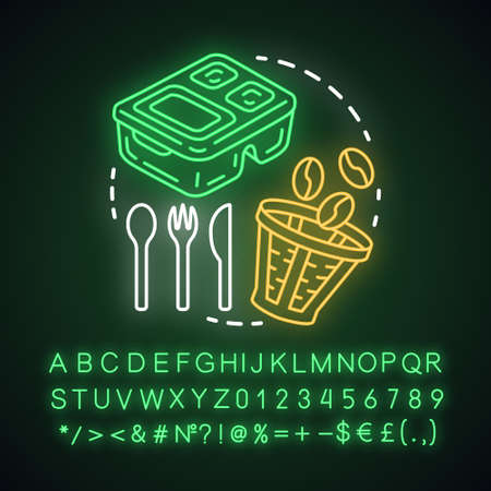 Zero waste kitchen, waste management neon light concept icon. Reusable coffee filter, cutlery, container idea. Glowing sign with alphabet, numbers and symbols. Vector isolated illustration