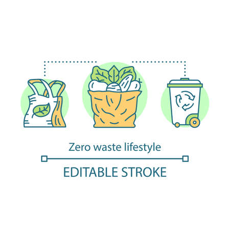 Waste management, eco, friendly lifestyle concept icon. Zero waste products idea thin line illustration. Recyclable, reusable items. Vector isolated outline drawing. Editable stroke