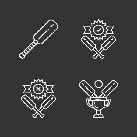 Cricket championship chalk icons set. Sport tournament. Bat, champion cup, win, defeat. Club battle. League competition. Sport contest. Bat and ball team game. Isolated vector chalkboard illustrations