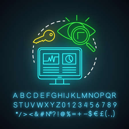 SEO neon light icon. Search engine optimization. Digital marketing tactic. Website traffic increasing. Online marketing. Glowing sign with alphabet, numbers and symbols. Vector isolated illustration Иллюстрация