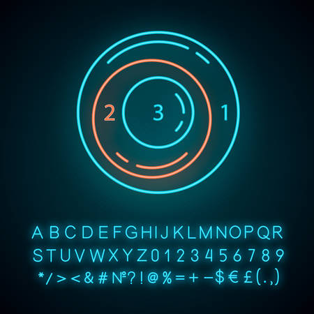 Existential graph neon light icon. Symbolic representation of information. Relationships between different data parts. Glowing sign with alphabet, numbers and symbols. Vector isolated illustration