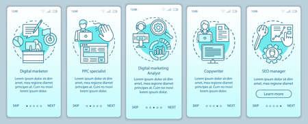 Specialità di marketing digitale schermata della pagina dell'app mobile onboarding turchese con concetti lineari. La procedura dettagliata del gestore SEO passa le istruzioni grafiche. Modello vettoriale UX, UI, GUI con illustrazioni