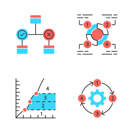 Diagram concepts color icons set. Decision, explanatory, phase, process charts. Statistics data and process flow visualization. Information symbolic representation. Isolated vector illustrations
