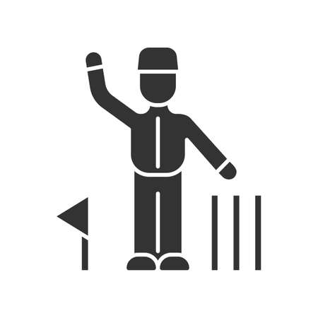 Cricket judge glyph icon. Umpire signals decision. Arbitrator follow game. Man in uniform, flag, wicket. Sport competition, tournament. Silhouette symbol. Negative space. Vector isolated illustration