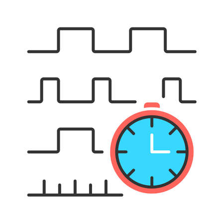 Timing diagram color icon. Signals set in time domain. Process chart. Timing relationships description. Digital electronics. Digital communications. Isolated vector illustration