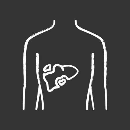 Ill liver chalk icon. Hepatitis, cirrhosis. Sore human organ. Unhealthy digestive gland. Sick internal body part. Gastrointestinal tract. Isolated vector chalkboard illustration