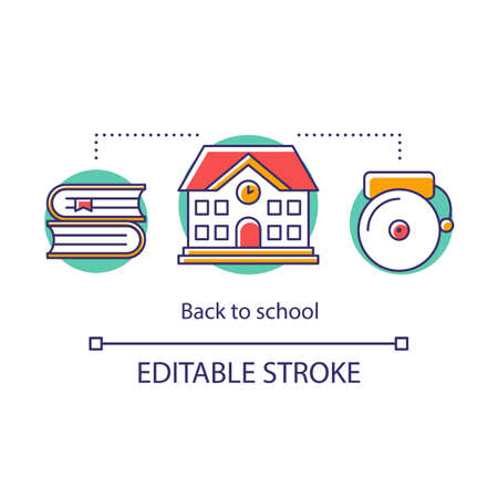 Educational process concept icon. Acquiring knowledge in school building. Lesson beginning, alarm bell. Basic education stage thin line illustration. Vector isolated outline drawing. Editable stroke  イラスト・ベクター素材