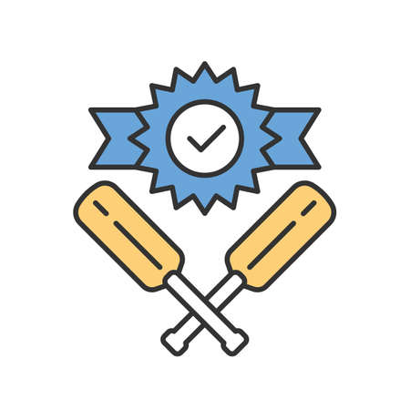 Cricket win color icon. Sport tournament. Winner trophy, crossed bits. Team battle. Outdoor sports activity. Total game result. League competition. Isolated vector illustration