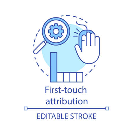First-touch attribution concept icon. Marketing channel analysis idea thin line illustration. Attribution modeling type. Web data analytics. Vector isolated outline drawing. Editable stroke Illusztráció