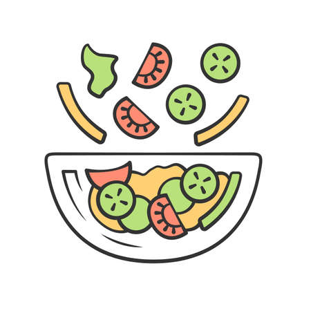 Salad bowl color icon. Fresh organic food. Vegan eating, vegetables. Healthy nutrition. Vitamin and diet. Tomato, bell pepper, cucumber. Kitchen dishware. Isolated vector illustration Illustration