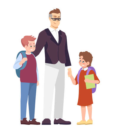 Father with schoolchildren flat vector illustration. Parent taking from school preteen son and daughter cartoon characters isolated on white background. Happy brother and sister communicating