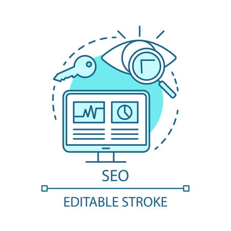SEO blue concept icon. Search engine optimization idea thin line illustration. Digital marketing tactic. Website traffic increasing. Online marketing. Vector isolated outline drawing. Editable stroke
