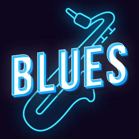 Blues vintage 3d vector lettering. Retro bold font, typeface. Pop art stylized text. Old school style neon light letters. 90s, 80s poster, banner, t shirt typography design. Dark blue color background