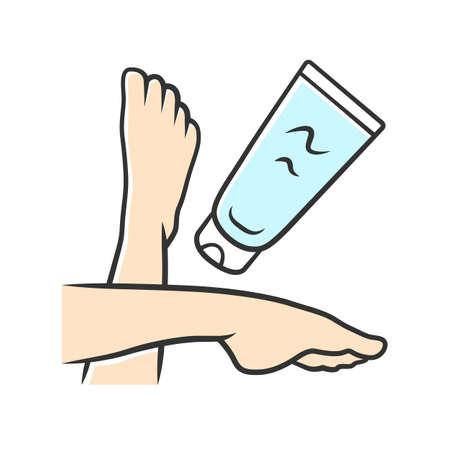 Feuchtigkeitsspendende Fußcreme, Sonnencreme-Farbsymbol. Weibliche Hygiene, Körperpflege isolierte Vektorillustration. Kosmetik, Hautpflegeprodukt. Bräunungs- und Sonnenbrandschutz. Frauenbeine und Lotionstube