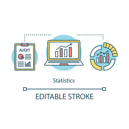 Statistics studies concept icon. Data visualization, infographics. Metrics, analytics. Information, rising graphs idea thin line illustration. Vector isolated outline drawing. Editable stroke