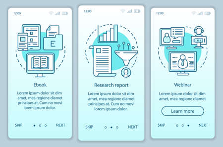 Consideration content turquoise onboarding mobile app page screen vector template. Research report walkthrough website steps with linear illustrations. UX, UI, GUI smartphone interface concept