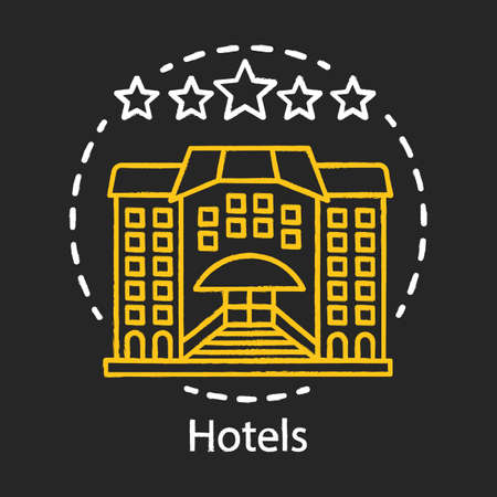Hotels chalk icon. Guesthouse, hostel. Architecture construction.Vacation, holidays stay in hotel. Traveler and tourist accommodation, apartment, motel. Isolated vector chalkboard illustration
