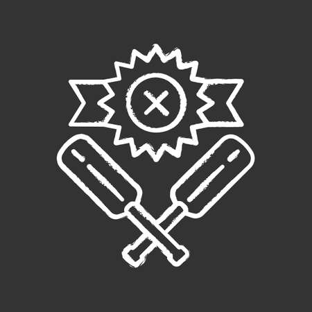Cricket defeat chalk icon. Total game result. Championship loss. Loser mark, crossed bats. Game over. Team battle finished. End of play. Sports activity. Isolated vector chalkboard illustration Ilustração