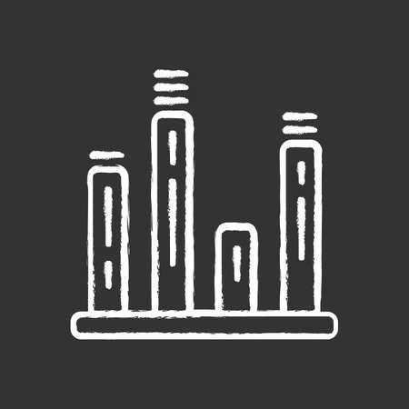Bar graph chalk icon. Diagram. Line graph. Statistics data visualization. Symbolic representation of information. Comparisons among discrete categories. Isolated vector chalkboard illustration Çizim