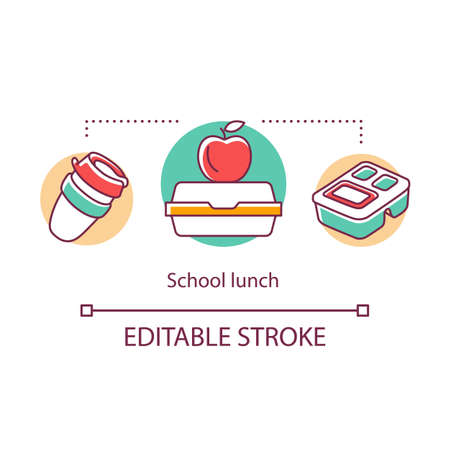 School lunch concept icon. Meal, snacks for pupils, students during break. Lunch box, red apple, disposable plastic cup thin line illustration. Vector isolated outline drawing. Editable stroke