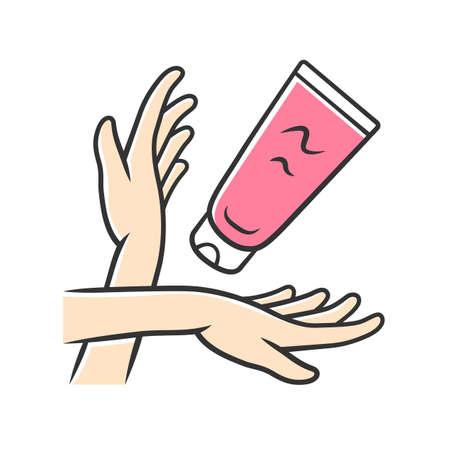 Feuchtigkeitsspendende Handcreme, Sonnencreme-Farbsymbol. Weibliche Hygiene, Körperpflege isolierte Vektorillustration. Kosmetik, Hautpflegeprodukt. Bräunungs- und Sonnenbrandschutz. Frauenarme und Lotionstube Vektorgrafik
