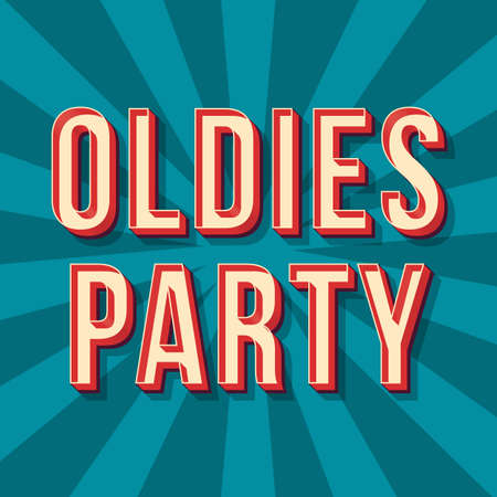 Oldies party vintage 3d vector lettering. Retro concert bold font, typeface. Pop art stylized text. Old school style letters. 90s, 80s poster, banner. Blue shades rays color background