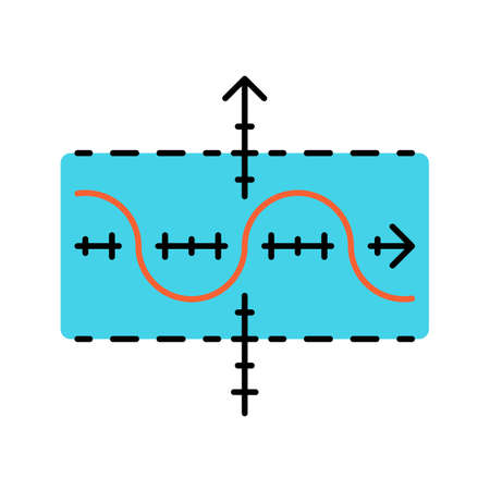 Function graph color icon. Duplicate function. Sinusoid. Sine curve. Diagram. Math graph. Acoustic, light wave. Symbolic representation of information. Isolated vector illustration