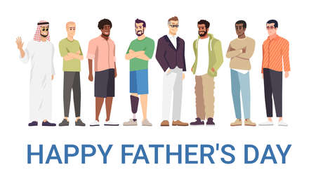 Happy fathers day vector banner template. Cheerful men, daddies celebrating family holiday. Handicapped dad happy with equal opportunities. Greeting card, postcard, poster design layout