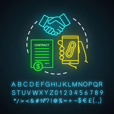Outreach via social media neon light icon. Social networks. Online PR. Brand, content awareness. Build new relationships. Glowing sign with alphabet, numbers and symbols. Vector isolated illustration