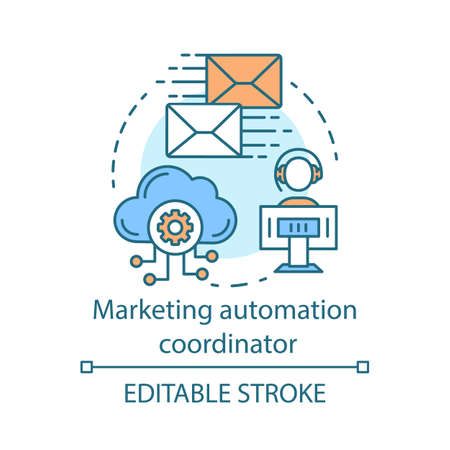 Marketing automation coordinator concept icon. Digital marketing specialty idea thin line illustration. Automated business campaign. Mass mailing. Vector isolated outline drawing. Editable stroke Illustration