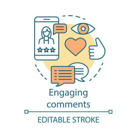 Engaging comments concept icon. Online PR idea thin line illustration. Content marketing. Subscribers review. Blog commenting, clients feedback. Vector isolated outline drawing. Editable stroke Illustration
