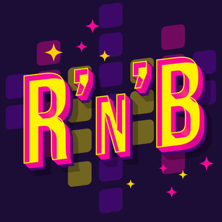 RnB vintage 3d vector lettering. Retro bold font, typeface. Pop art stylized text. Old school style neon light letters. 90s, 80s poster, banner, t shirt typography design. Dark violet color background