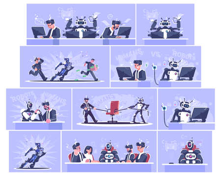 Robot vs human flat vector illustrations set. AI workers replace people concept. Robotics revolution. Humanoid, cyborgs working cartoon characters. Artificial intelligence boss, policeman, manager Иллюстрация