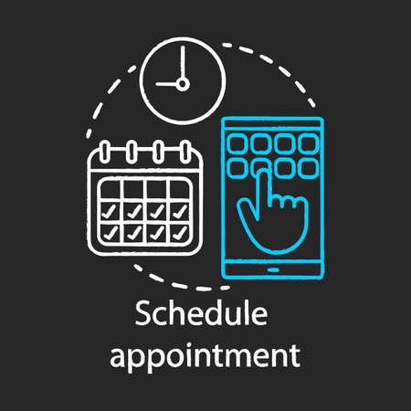 Schedule appointment chalk icon. Meeting arrangement. Clinic center. Planning. Attendance timetable. Plastic surgery center. Calendar. Isolated vector chalkboard illustration