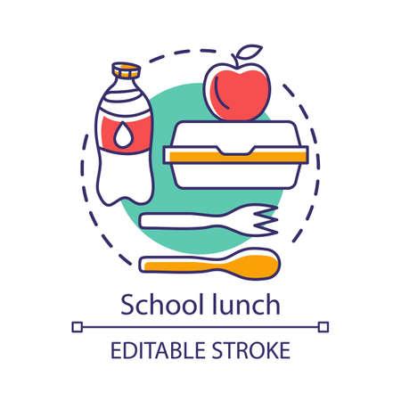 Pranzo a scuola, icona del concetto di pausa pasto. Catering idea pubblicitaria illustrazione al tratto sottile. Bottiglia per il latte, scatola per il pranzo, mela e posate di plastica disegno di contorno isolato vettore. Tratto modificabile Vettoriali