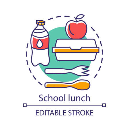 School lunchtime, meal break concept icon. Catering advertising idea thin line illustration. Milk bottle, lunch box, apple, and plastic cutlery vector isolated outline drawing. Editable stroke Ilustração