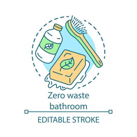 Zero waste bathroom concept icon. Ecoskincare cosmetics and eco, friendly products idea thin line illustration. Green lifestyle, waste management. Vector isolated outline drawing. Editable stroke