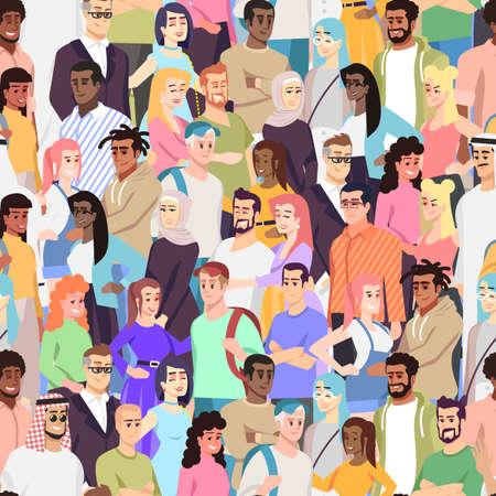 Modèle sans couture de vecteur de diversité multiculturelle. Membres de la communauté multiethnique. Représentants de différentes nations dans la foule. Jeunes gais caucasiens, arabes, africains. Conception de papier peint Vecteurs