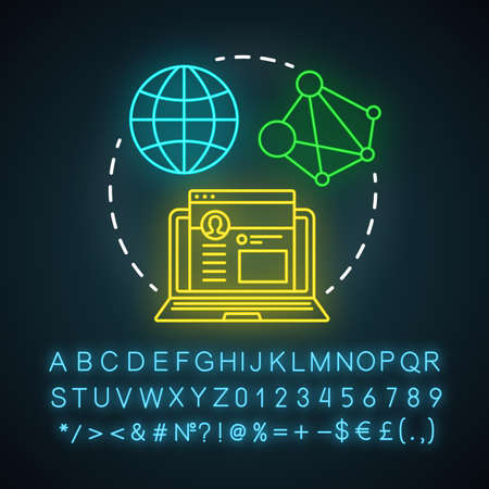 SMM neon light icon. Digital marketing tactic. Social media marketing. Networking website, content sharing, promotion. Glowing sign with alphabet, numbers and symbols. Vector isolated illustration Ilustracja