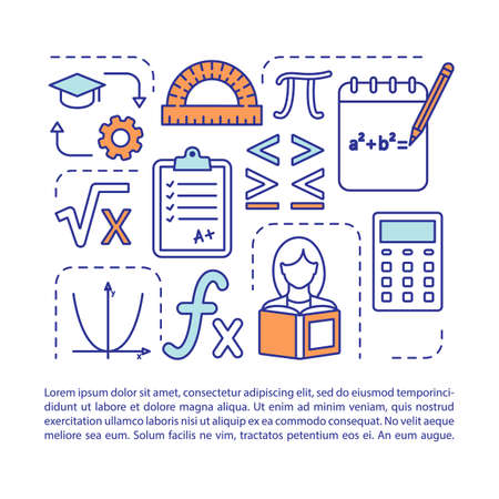 Advanced math courses article page vector template. Algebra subject. Brochure, magazine, booklet design element with linear icons and text boxes. Print design. Concept illustrations with text space Reklamní fotografie - 129558788