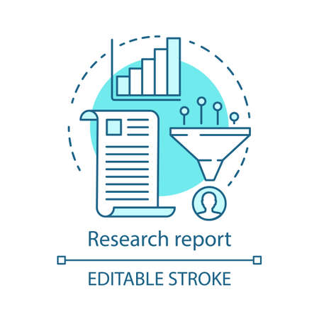 Research report blue concept icon. Sales conversions funnel idea thin line illustration. Marketing metrics, statistics. Search information result. Vector isolated outline drawing. Editable stroke