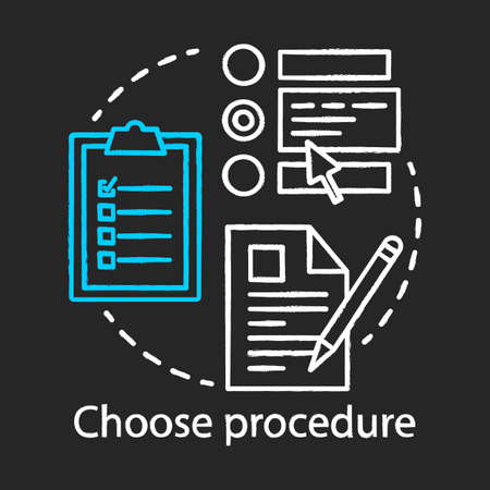 Choose procedure chalk icon. Medical treatment. Healthcare and medicine. Hospital procedures. Plastic surgery center service. Choice. Isolated vector chalkboard illustration