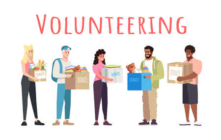 Volunteering and donations vector banner template. Cheerful people donating toys for children cartoon characters. Young volunteers holding boxes with grocery products. Charity organization members